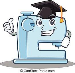 Graduation sewing machine emoticon character
