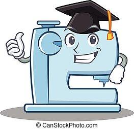 Graduation sewing machine emoticon character