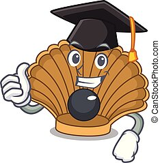 Graduation shell with pearl character cartoon