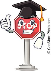 Graduation sign stop cartoon side street mascot