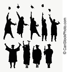 Graduation silhouettes. Male and female. Good use for symbol...