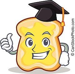 Graduation slice bread cartoon character vector art...