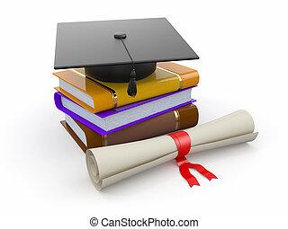graduation., sparviere, diploma, e, books., 3d