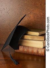 Graduation still life - Still life with graduation cap and...