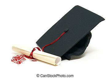 Graduation - A diploma certificate alongside a grad hat to...
