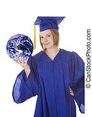 Graduation - Beautiful Caucasian teenager in a graduation...