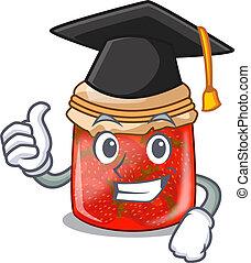 Graduation strawberry marmalade in glass jar of cartoon