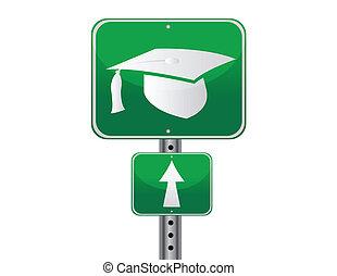 Graduation street sign - Graduation cap street sign over a...
