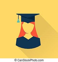 Graduation student icon - flat style Graduation student icon...