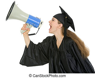 Graduation student shouting through megaphone