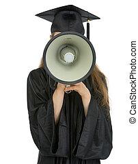 Graduation student speaking megaphone into camera