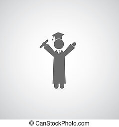 graduation symbol on gray background