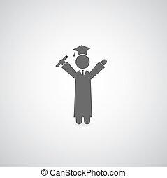 graduation symbol on gray background