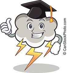 Graduation thunder cloud character cartoon vector...