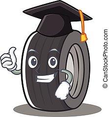 Graduation tire character cartoon style
