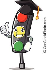 Graduation traffic light character cartoon