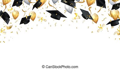 Graduation. Transparent background with realistic flying black degree caps confetti balloons and diplomas. Vector school and university education banner