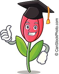 Graduation tulip character cartoon style