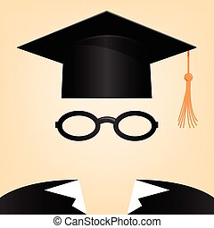 Graduation - vector illustration of a man with a graduation...