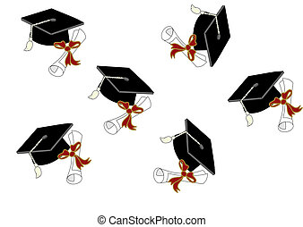 Graduation with Motorboards and diplomas, thrown up in the...