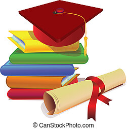 books and scroll and possible graduate