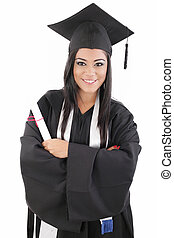 graduation woman portrait smiling and looking happy