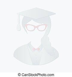 Graduation Woman  - Vector Paper Graduation Woman Icon