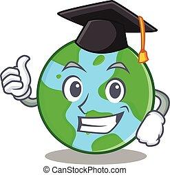 Graduation world globe character cartoon