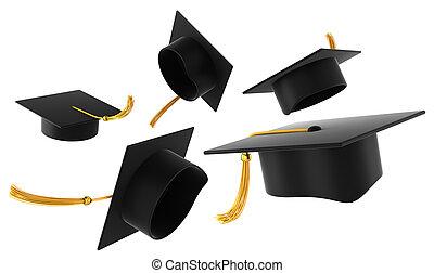 graduazione, cappello, bianco, fondo