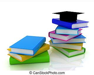 graduazione, cappello, con, libri