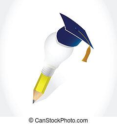 graduazione, cappello, e, lampadina, idea, matita
