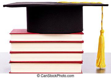 graduazione, cappello, e, libri