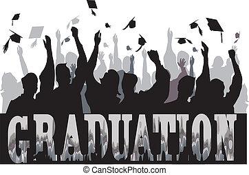 graduazione, celebrazione, in, silhouette