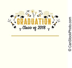 graduazione, classe, di, 2018, cartolina auguri, e, invito, template., vettore, festa, invitation., grad, poster.