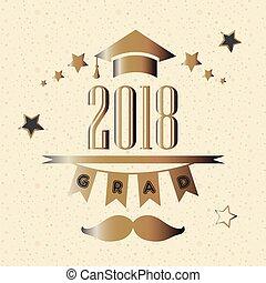 graduazione, classe, di, anno, 2018, in, oro