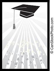 graduazione, con, mortaio