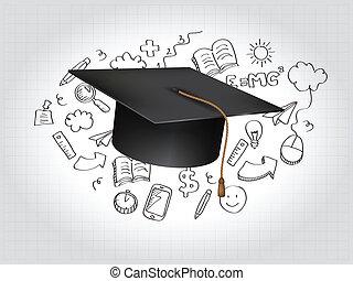 graduazione, concetto, vettore, illustrazione
