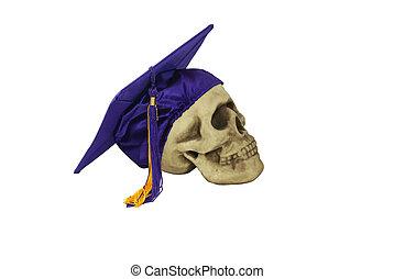 graduazione, consiglio mortaio, e, cranio