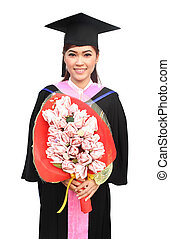 graduazione, donne, indossare, grado, completo