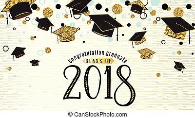 graduazione, fondo, classe, di, 2018, con, laurei berretto