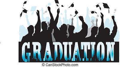 graduazione, in, silhouette