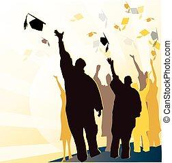 graduazione, mortaio, e, diploma