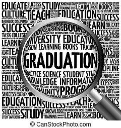 graduazione, parola, nuvola