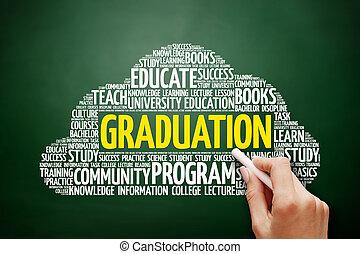 graduazione, parola, nuvola, educazione, concetto