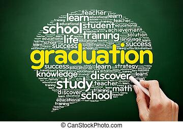 graduazione, pensare, bolla, parola, nuvola