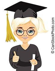 graduazione, piccola ragazza, presa a terra, lei, diploma, con, orgoglio