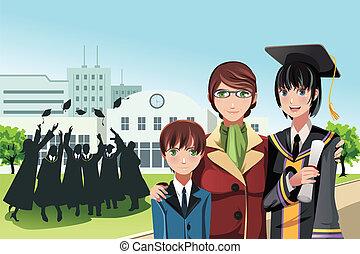 graduazione, ragazza, con, madre, e, fratello