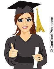 graduazione, ragazza, presa a terra, lei, diploma, con, orgoglio