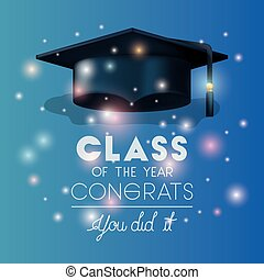 graduazione, scheda, con, cappello