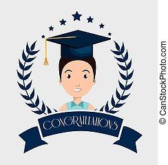 graduazione, scheda, isolato, icona